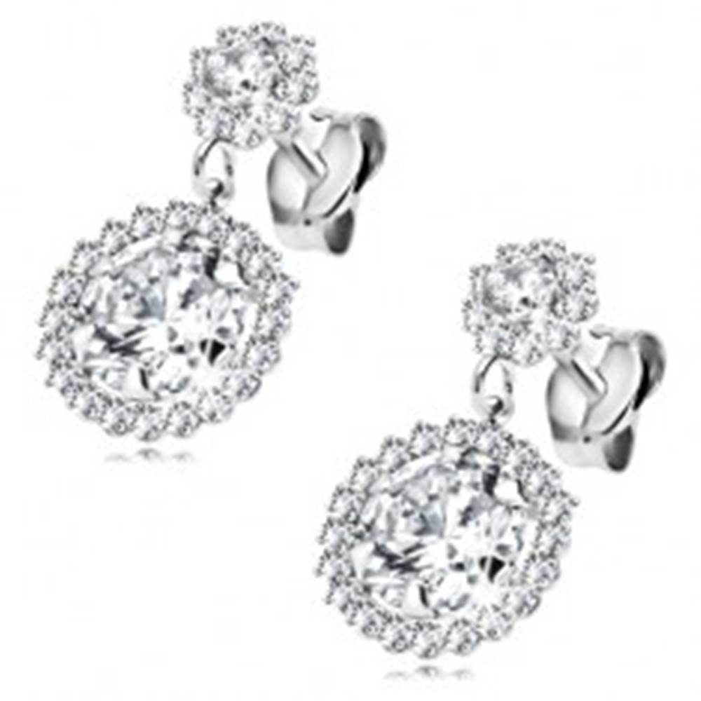 Šperky eshop Náušnice z bieleho 14K zlata - dva zirkónové kvietky čírej farby