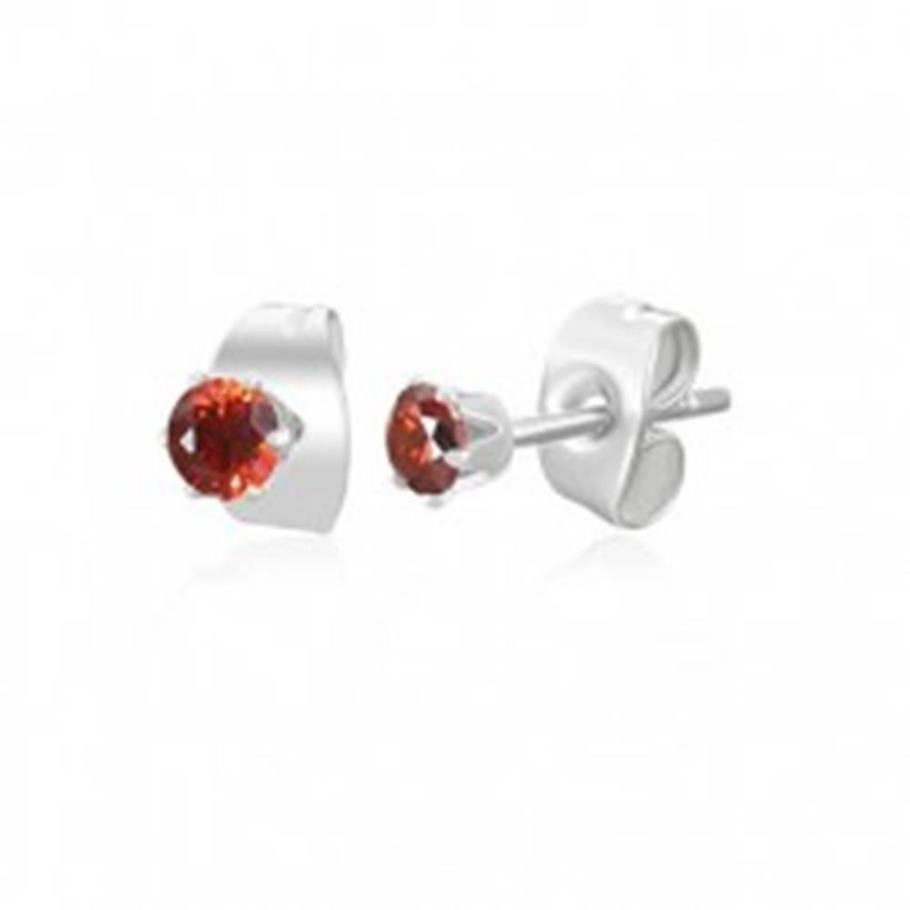 Šperky eshop Náušnice z chirurgickej ocele striebornej farby - malý červený zirkón