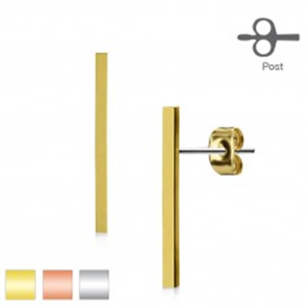 Šperky eshop Náušnice z chirurgickej ocele, úzky pásik, hladký lesklý povrch - Farba: Medená