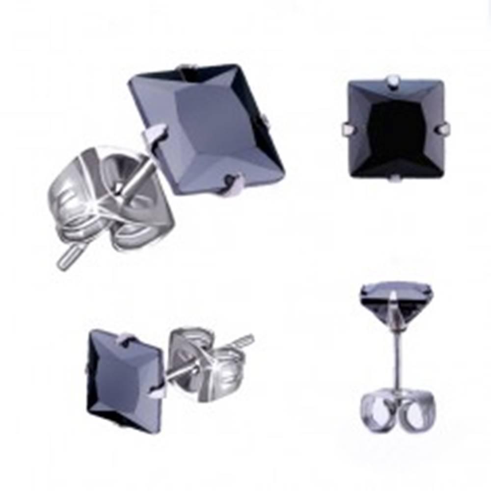 Šperky eshop Náušnice z ocele 316L, strieborná farba, čierny zirkónový štvorec, rôzne veľkosti - Veľkosť zirkónu: 3 mm
