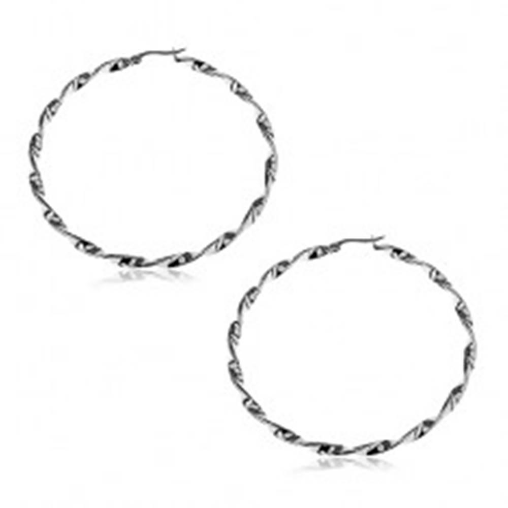 Šperky eshop Náušnice z ocele 316L - točené kruhy striebornej farby - Priemer: 25 mm