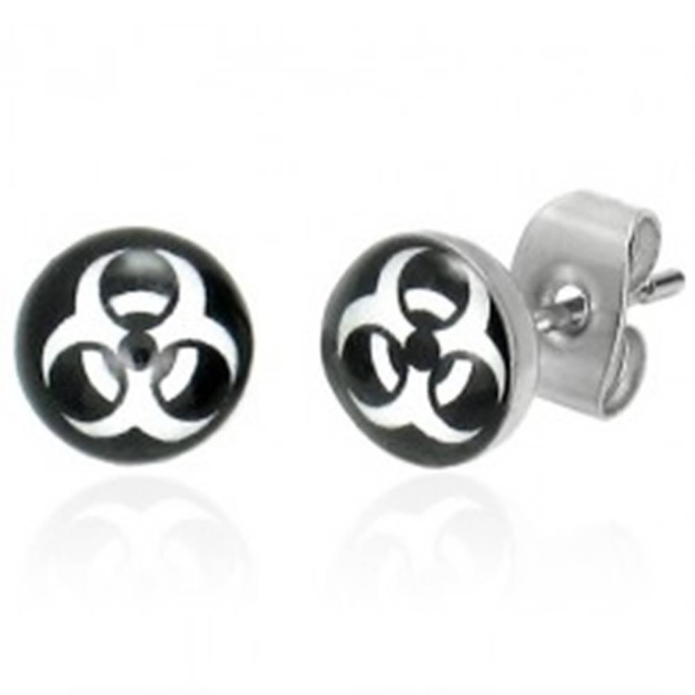 Šperky eshop Náušnice z ocele - okrúhle, symbol BIOHAZARD