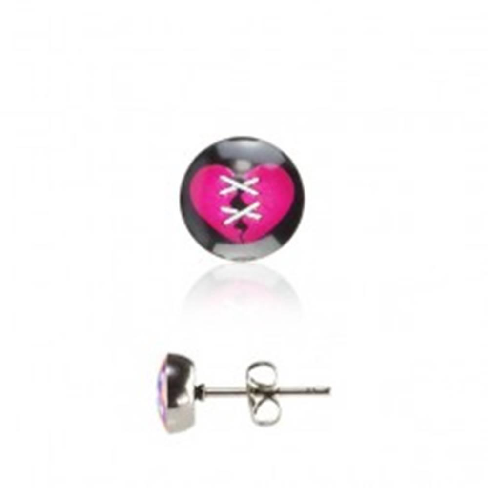 Šperky eshop Náušnice z ocele - ružové srdiečko
