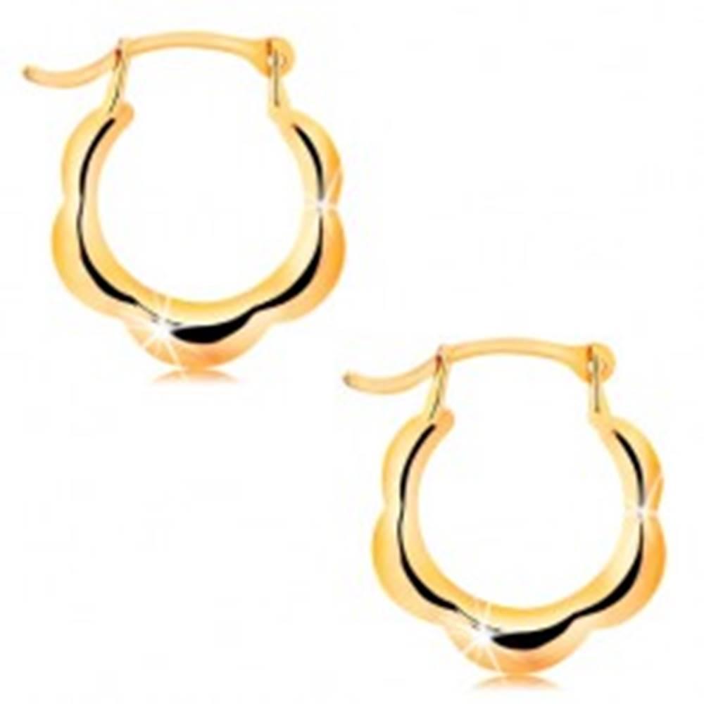 Šperky eshop Náušnice zo žltého 14K zlata - lesklé krúžky s motívom kvetu