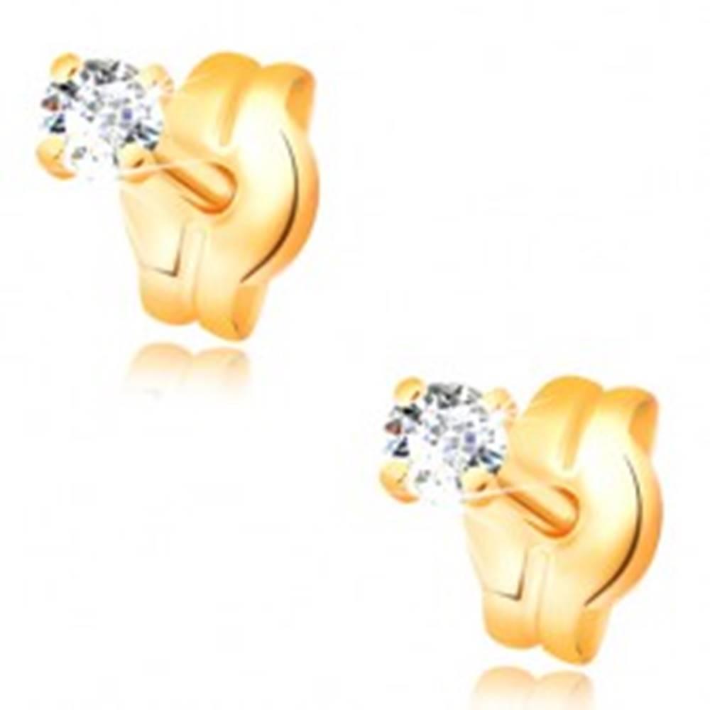 Šperky eshop Náušnice zo žltého 14K zlata - okrúhly zirkón čírej farby, 2 mm