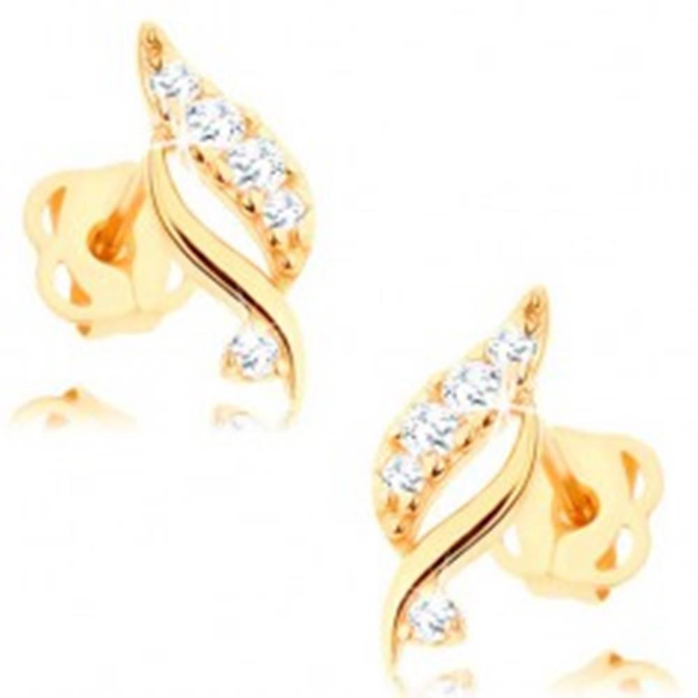 Šperky eshop Náušnice zo žltého 14K zlata - trblietavý lístok s čírymi briliantmi