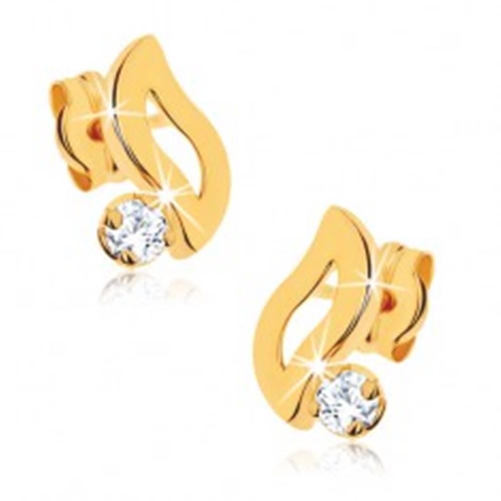 Šperky eshop Náušnice zo žltého 9K zlata - kontúra vlnky, číry okrúhly kamienok