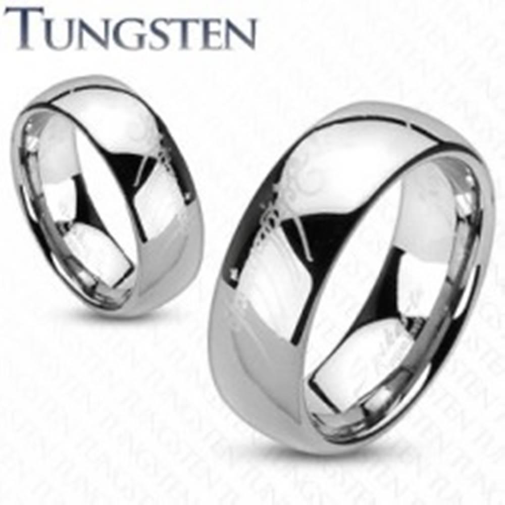 Šperky eshop Obrúčka z wolfrámu - strieborný odtieň, motív Pán prsteňov - Veľkosť: 48 mm