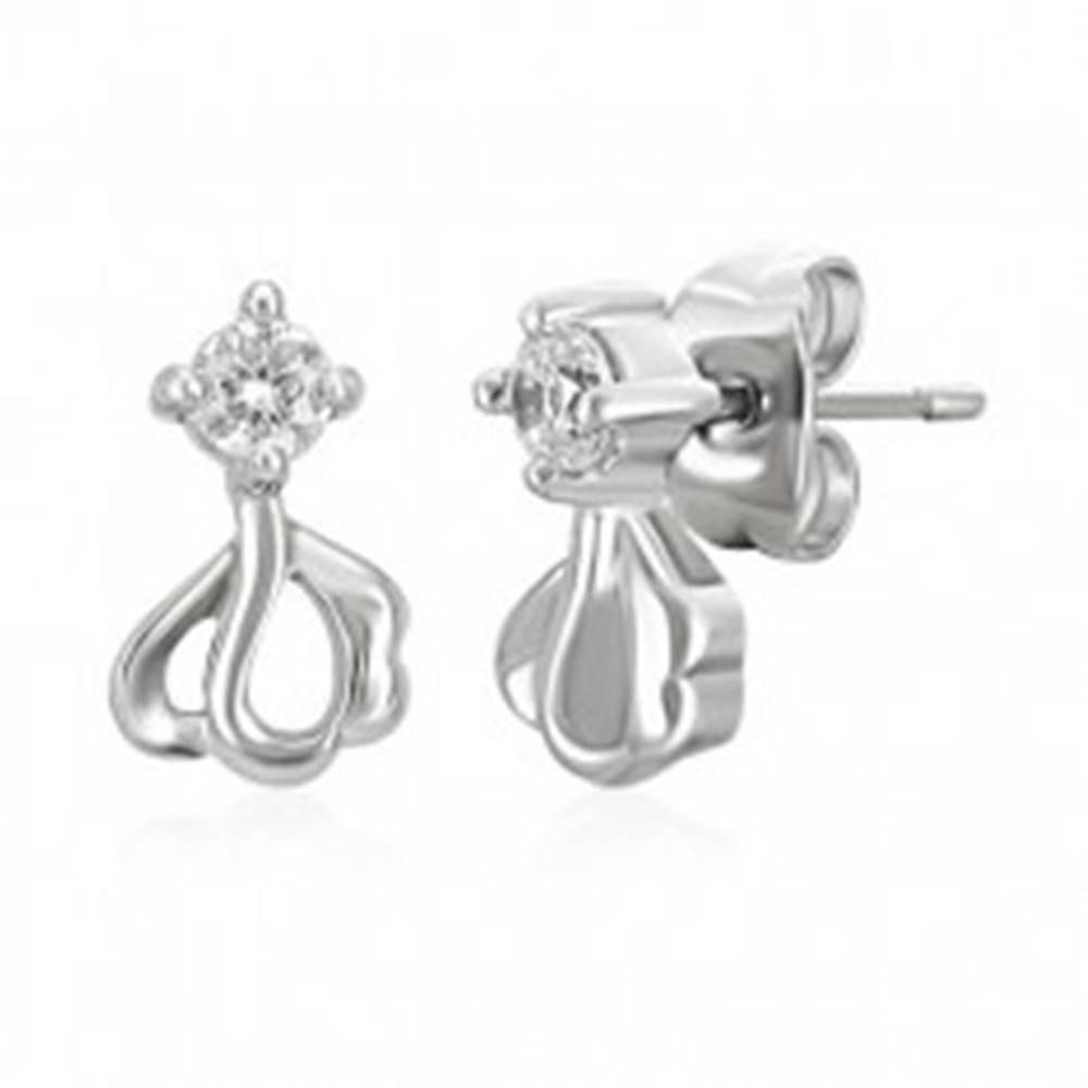 Šperky eshop Oceľové náušnice - číry zirkón, kvet