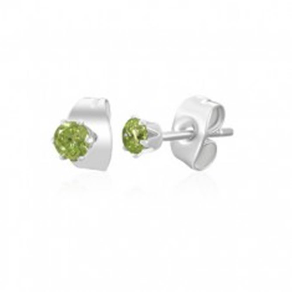 Šperky eshop Oceľové náušnice - svetlozelený zirkón, 3 mm