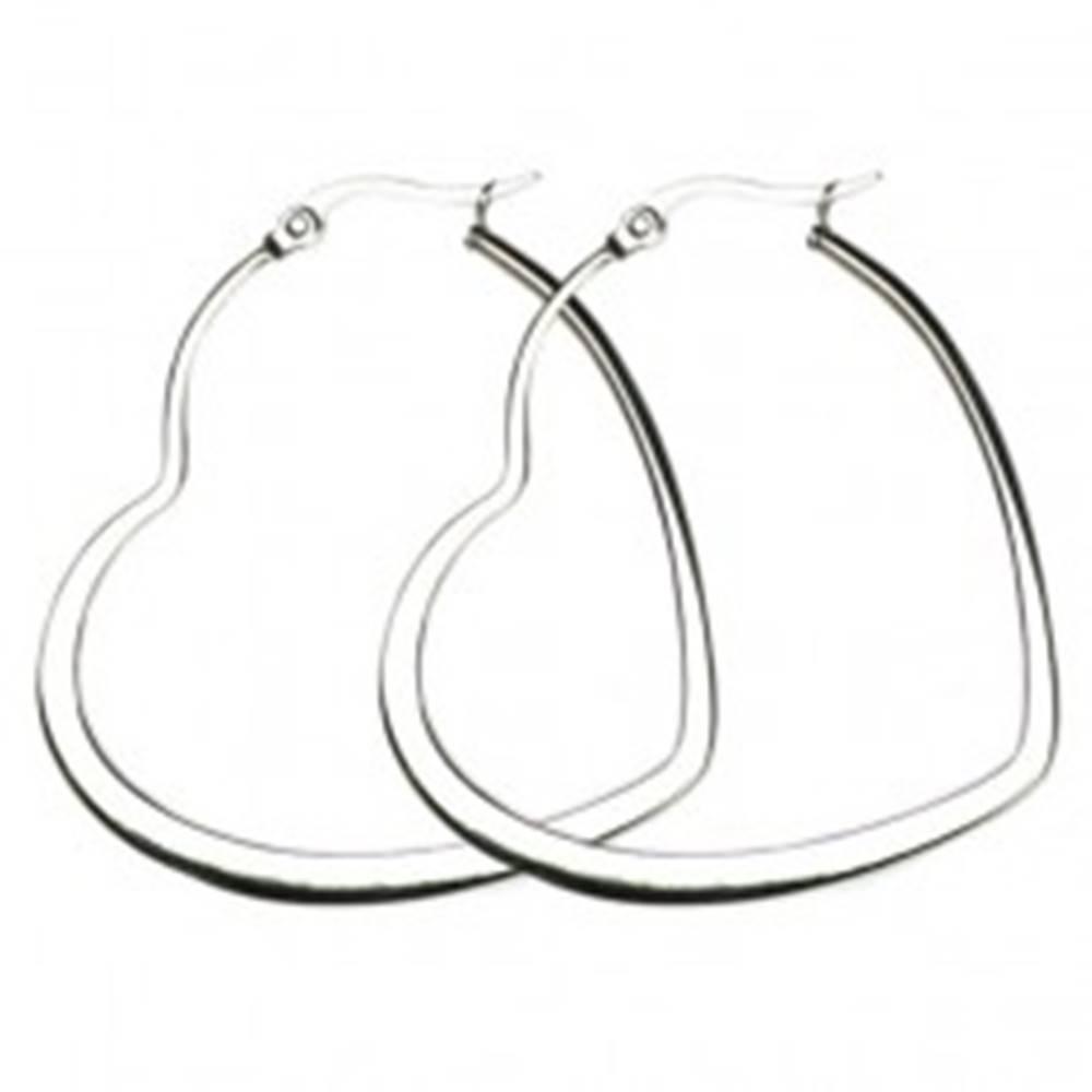 Šperky eshop Oceľové náušnice - veľká lesklá kontúra srdca, strieborná farba - Priemer: 30 mm