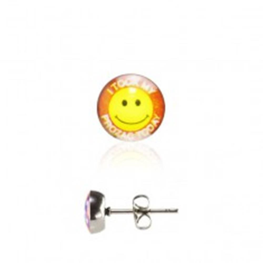 Šperky eshop Oceľové náušnice - žltý smajlík