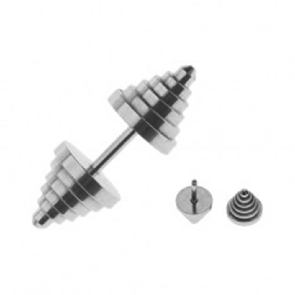 Šperky eshop Oceľový fake plug do ucha v tvare stupňovito zrezaného kužeľa