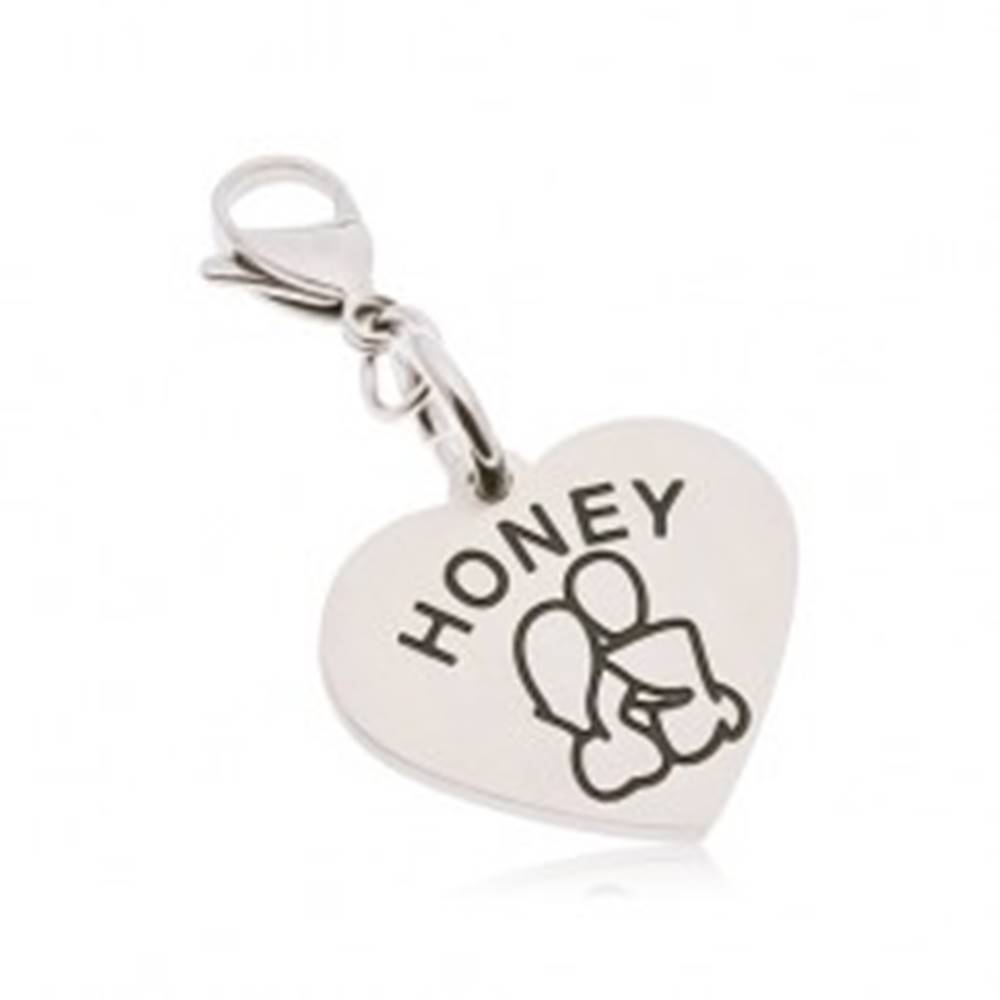 Šperky eshop Oceľový prívesok na kľúčenku, srdce s nápisom HONEY, zamilovaná dvojica