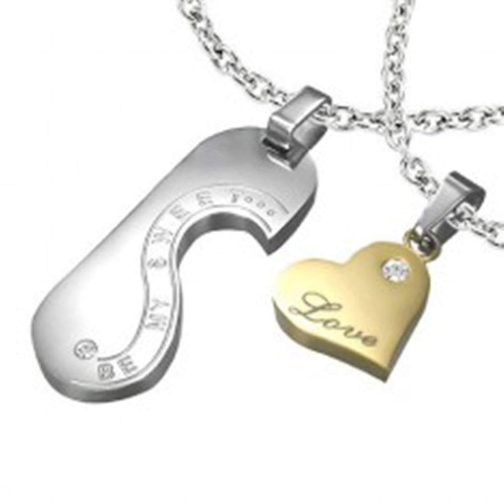 Šperky eshop Oceľový prívesok - známka a srdce LOVE pre dvojicu