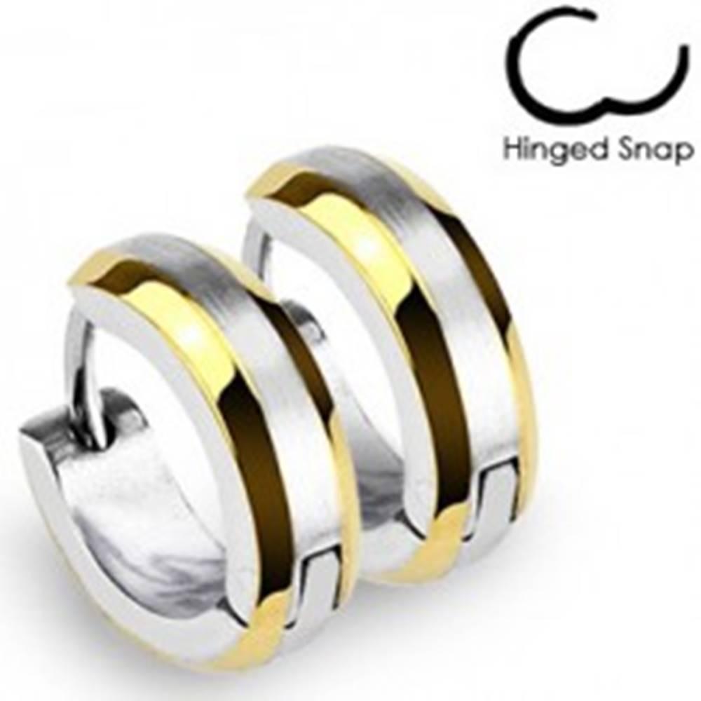 Šperky eshop Okrúhle náušnice - prúžky zlatej farby a stred striebornej farby