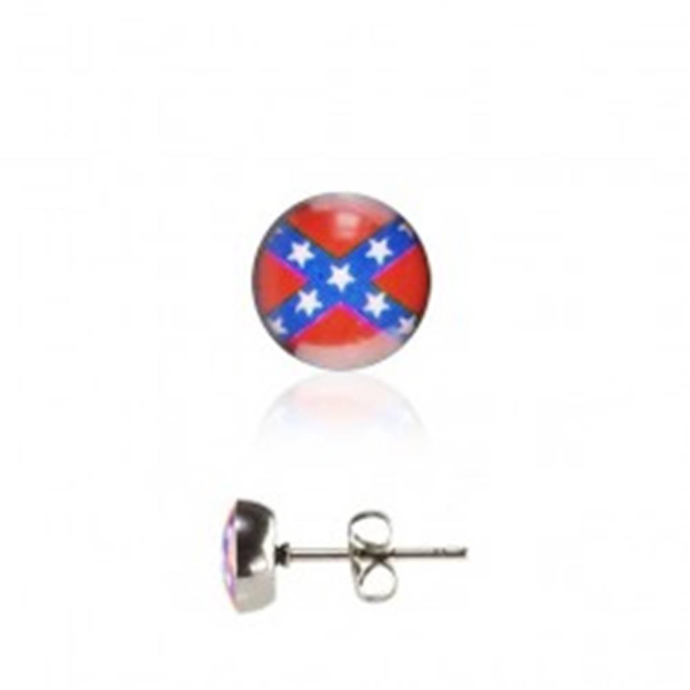 Šperky eshop Okrúhle oceľové náušnice - Južanská vlajka