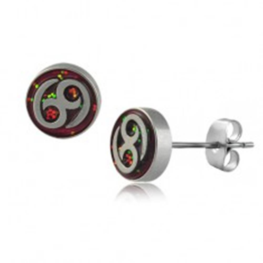 Šperky eshop Okrúhle oceľové náušnice  - znak 69, viacfarebné trblietky