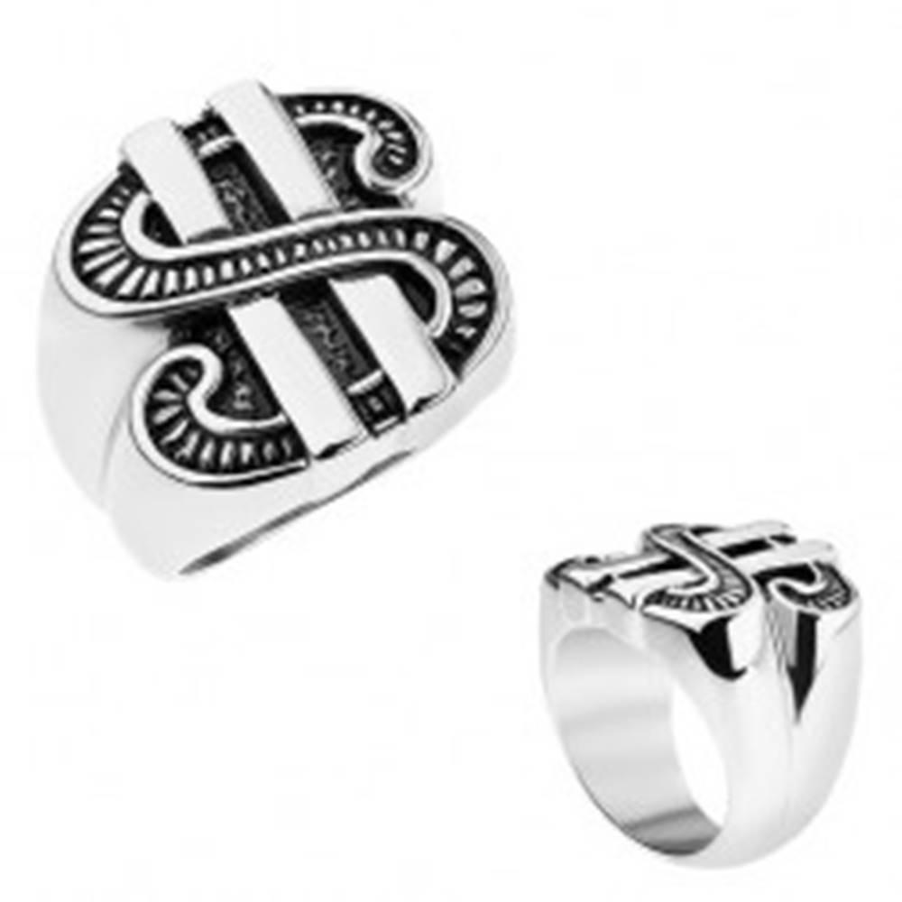 Šperky eshop Patinovaný prsteň z ocele 316L, symbol amerického dolára - Veľkosť: 56 mm