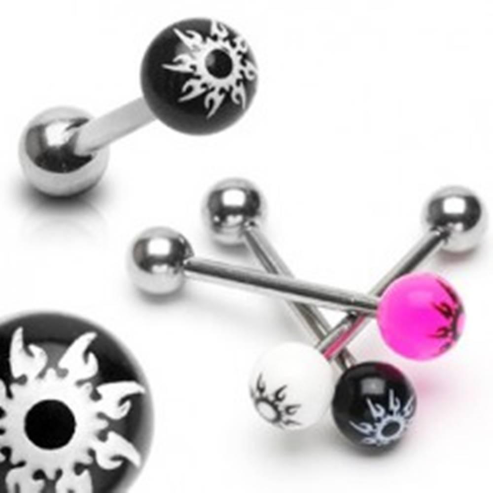 Šperky eshop Piercing do jazyka z ocele - farebná gulička, hviezda - Farba piercing: Biela