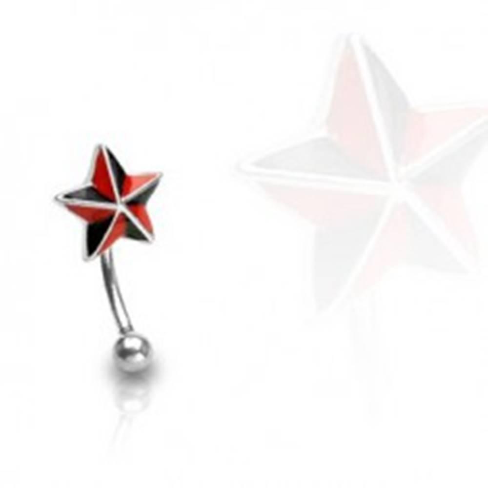 Šperky eshop Piercing do obočia - červeno čierna hviezda