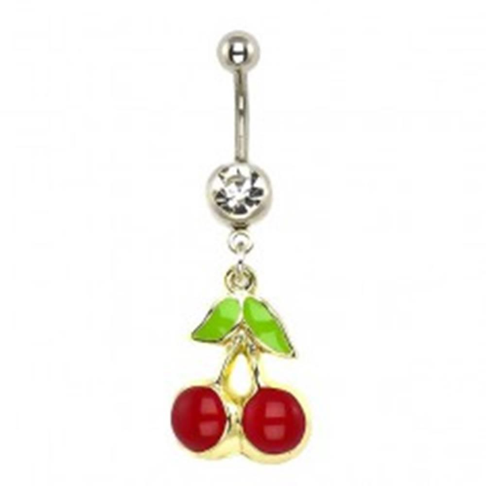 Šperky eshop Piercing do pupka - čerešne, podklad zlatej farby