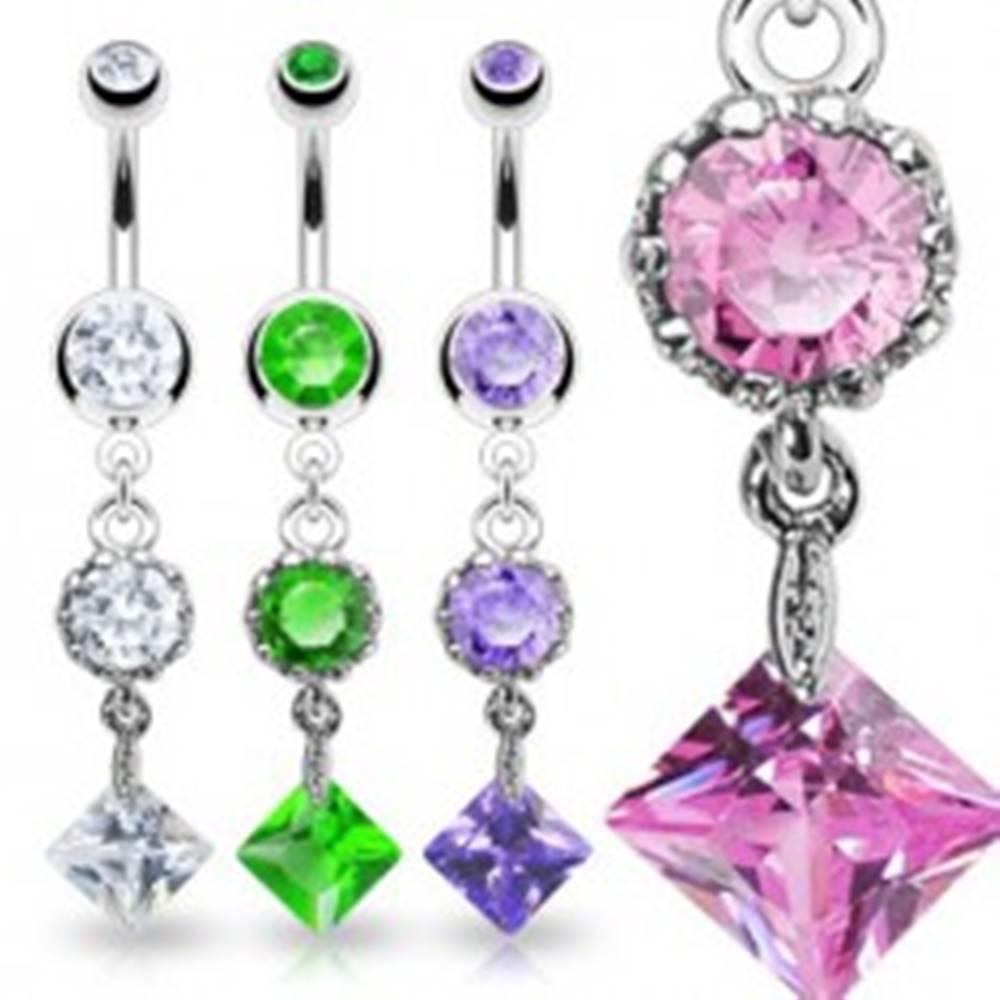 Šperky eshop Piercing do pupku VINTAGE - tri farebné zirkóny - Farba piercing: Číra