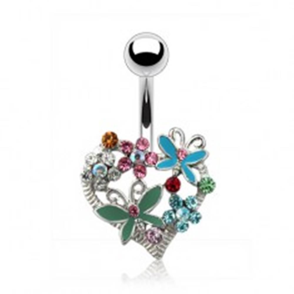 Šperky eshop Piercing do pupku - zdobené srdiečko, farebné zirkóny
