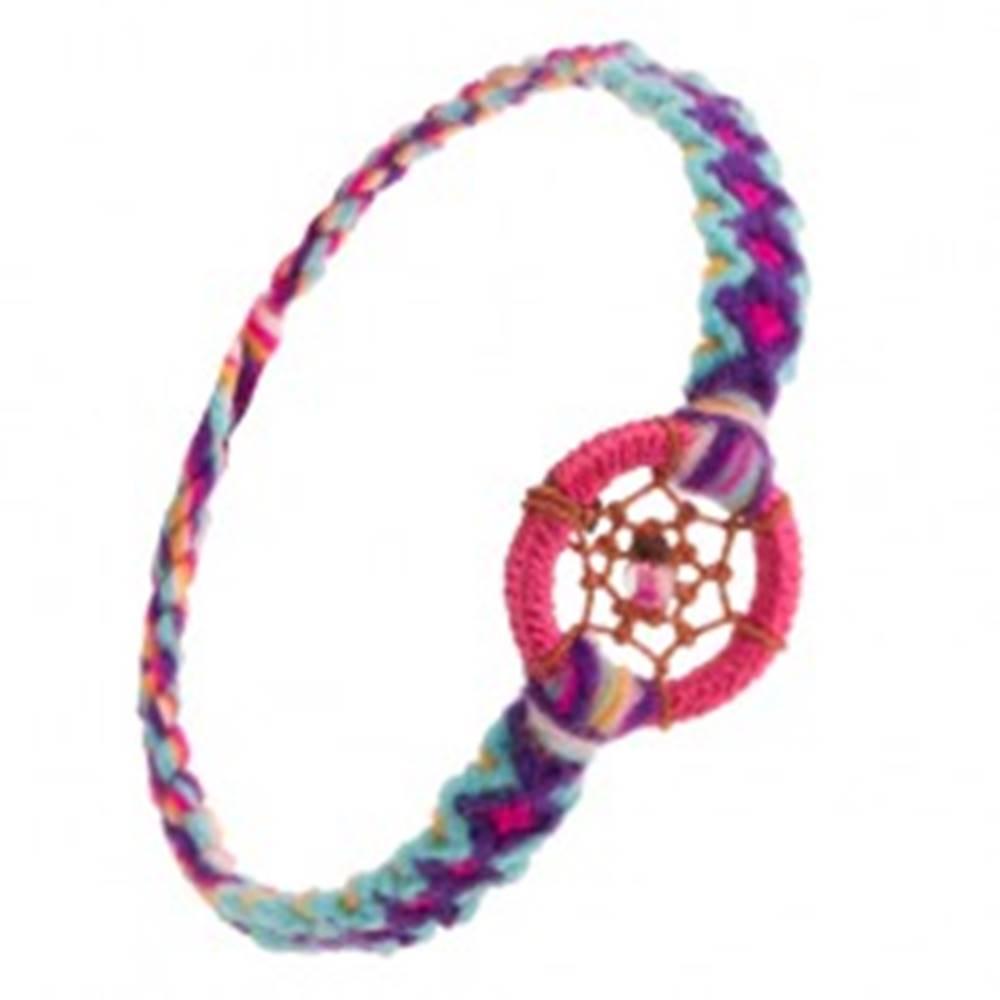 Šperky eshop Pletený vzorovaný náramok, okrúhly prívesok, pavučinka z nití s korálkou