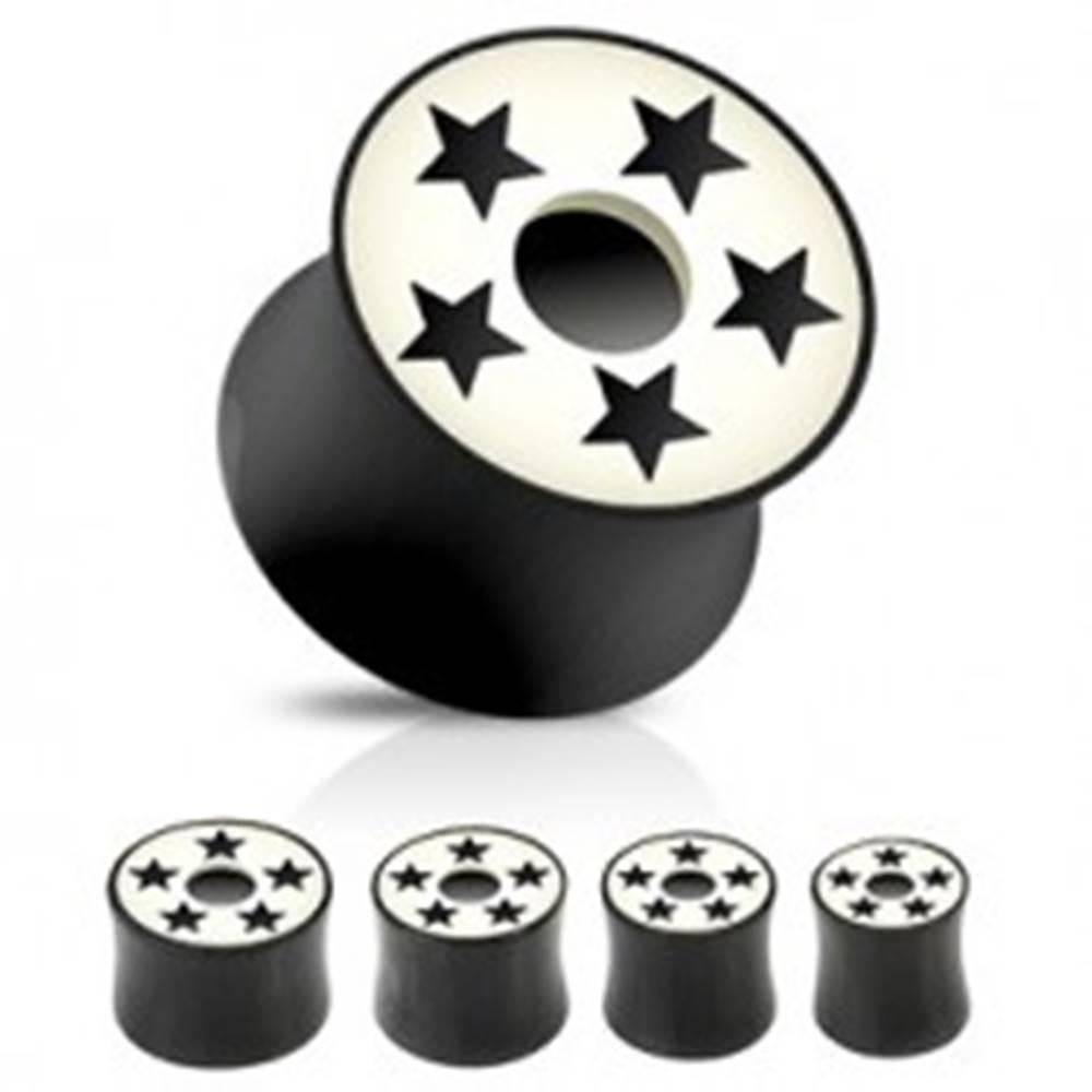 Šperky eshop Plug do ucha sedlo - čiernobiely, hviezdy - Hrúbka: 10 mm