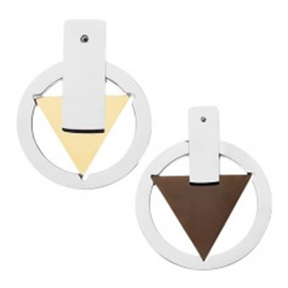 Šperky eshop Prívesok pre dvoch - kruh života, trojuholník čiernej a zlatej farby
