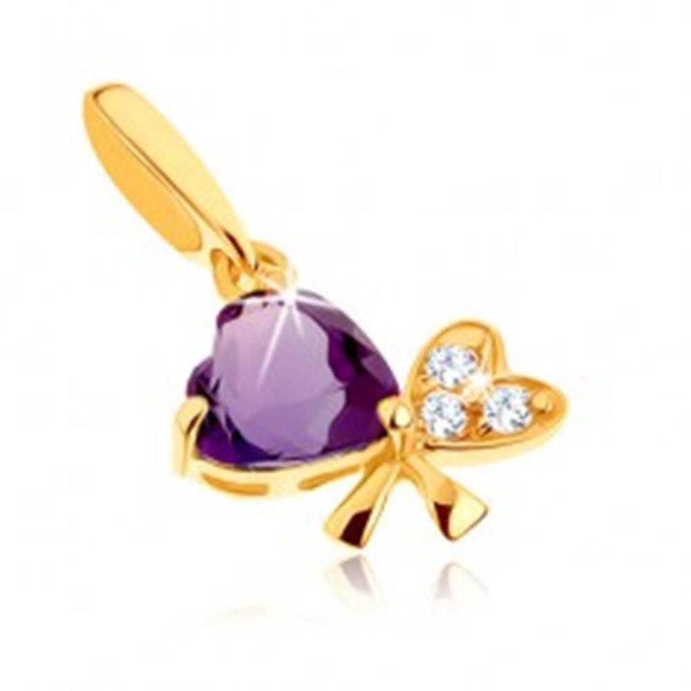 Šperky eshop Prívesok v žltom 9K zlate - mašlička z dvoch sŕdc, fialový ametyst, číre zirkóny