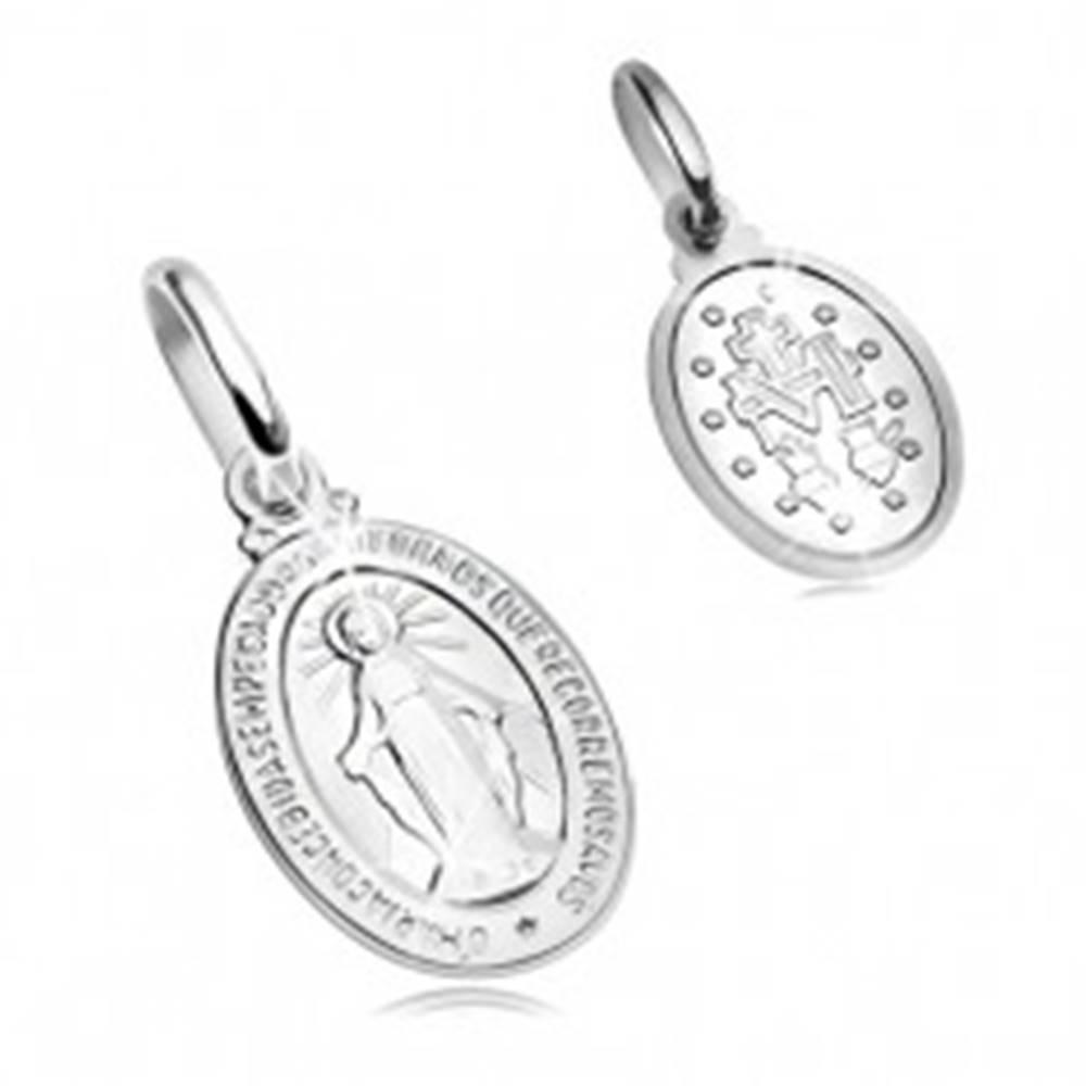 Šperky eshop Prívesok z bieleho 14K zlata - oválna známka so symbolmi Panny Márie