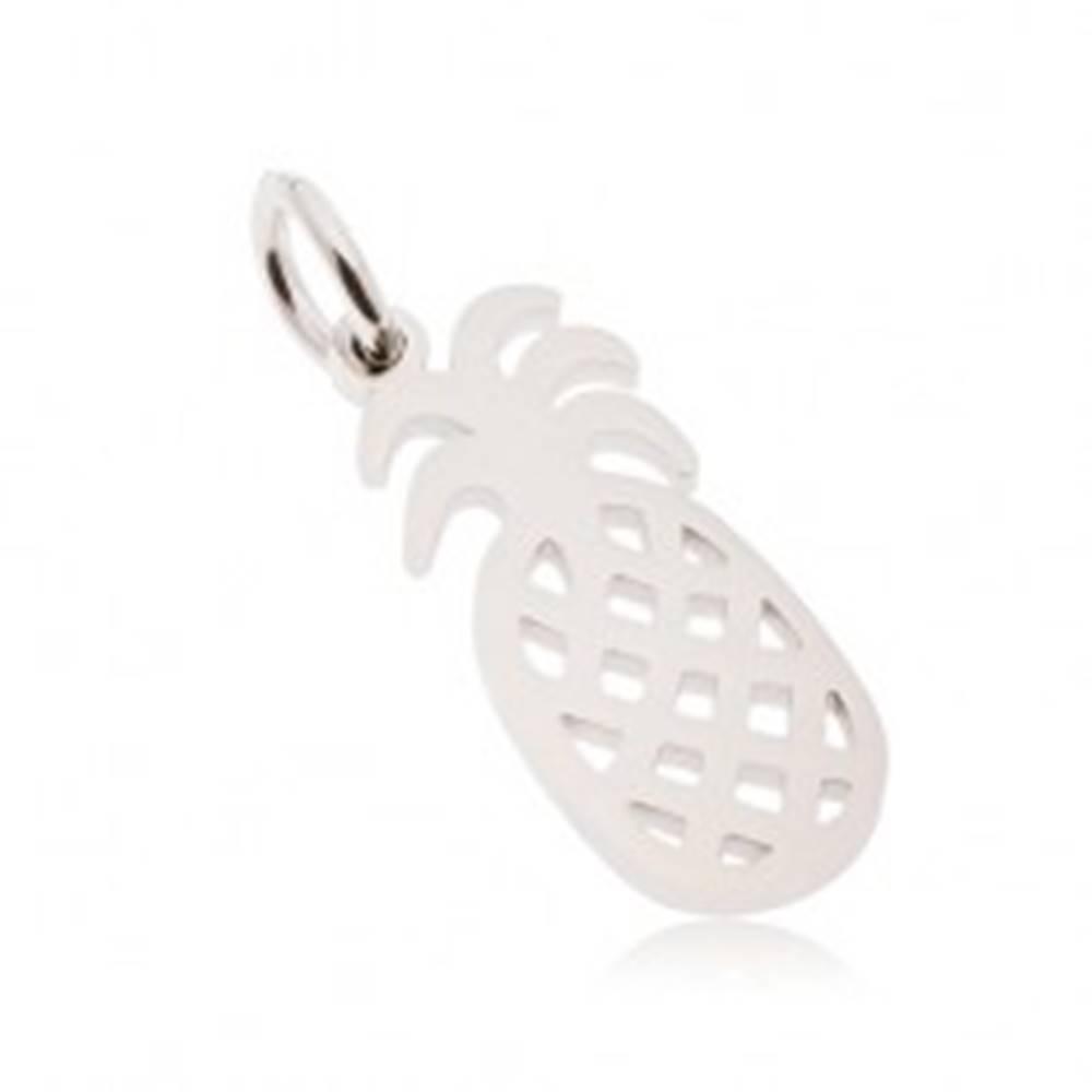 Šperky eshop Prívesok z chirurgickej ocele, ananás s výrezmi, strieborná farba
