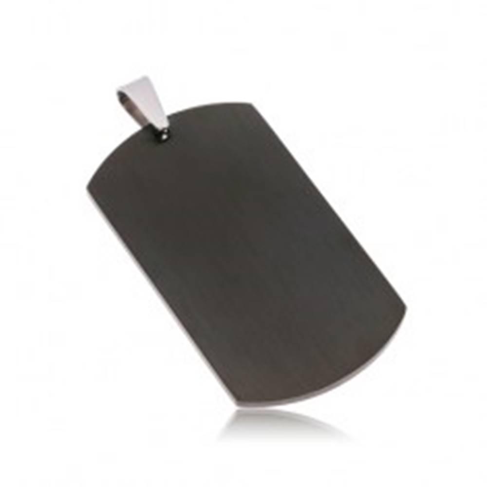 Šperky eshop Prívesok z chirurgickej ocele - matná čierna známka bez vzoru