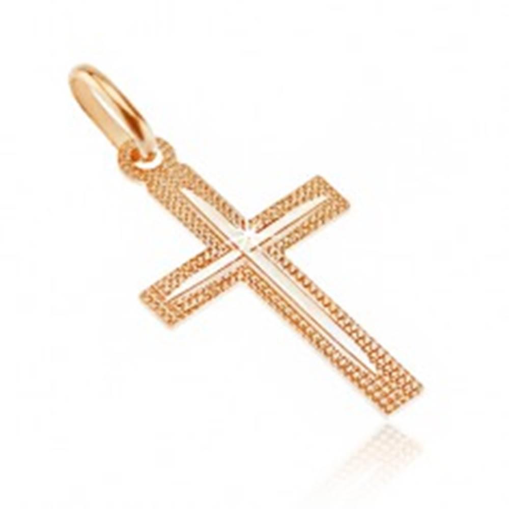 Šperky eshop Prívesok zo 14K zlata - kríž, vrúbkovaný povrch s tenkým zárezom v cípoch