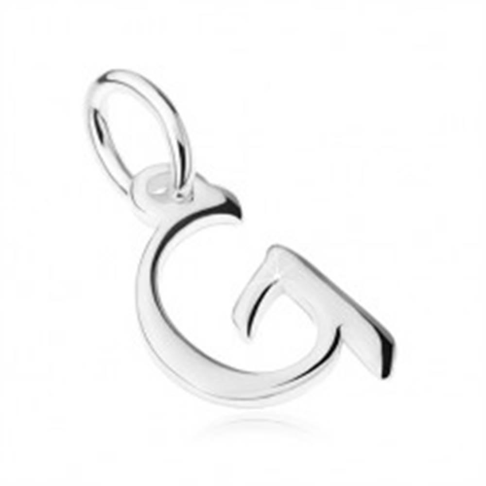 """Šperky eshop Prívesok zo striebra 925, zrkadlovolesklé veľké tlačené písmeno """"G"""""""