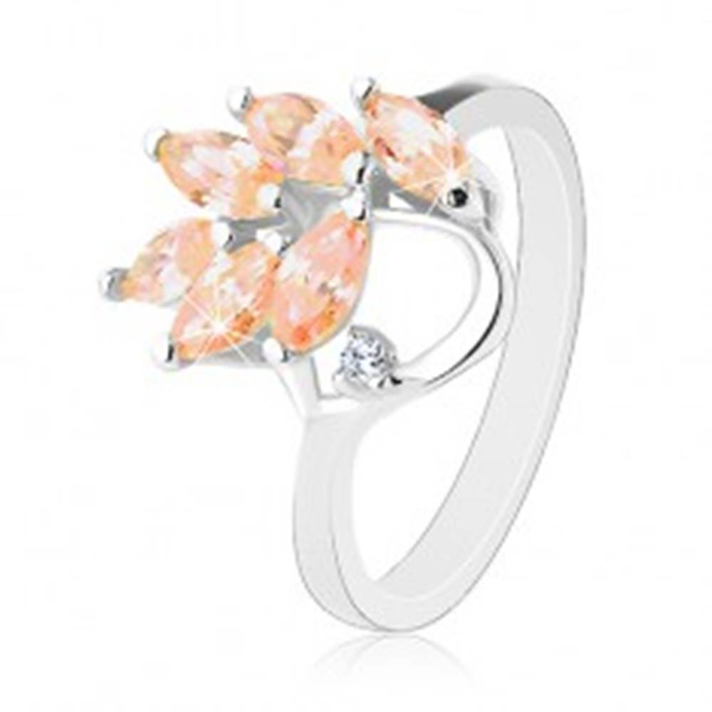 Šperky eshop Prsteň s lesklými ramenami, svetlooranžové zirkónové lístky na vetvičke - Veľkosť: 59 mm