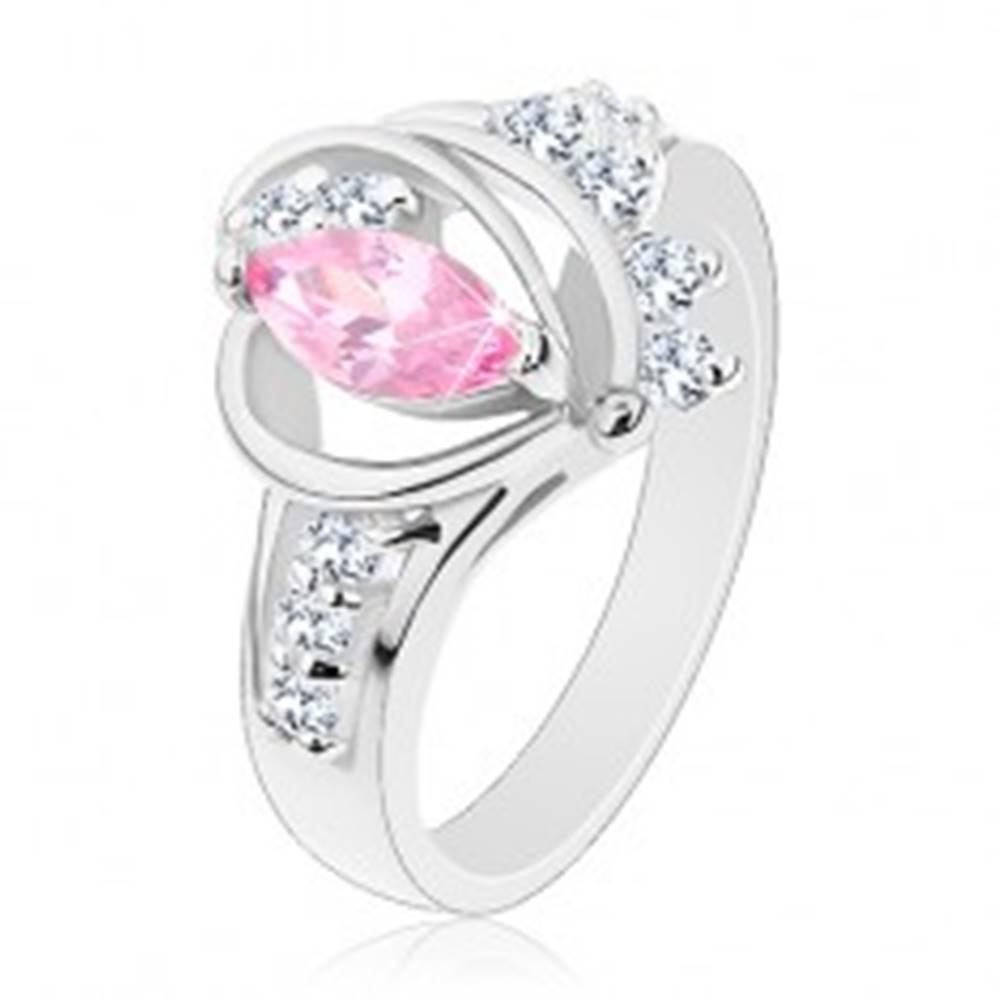Šperky eshop Prsteň s rozdelenými zirkónovými ramenami, veľké ružové zrnko, oblúčiky - Veľkosť: 49 mm