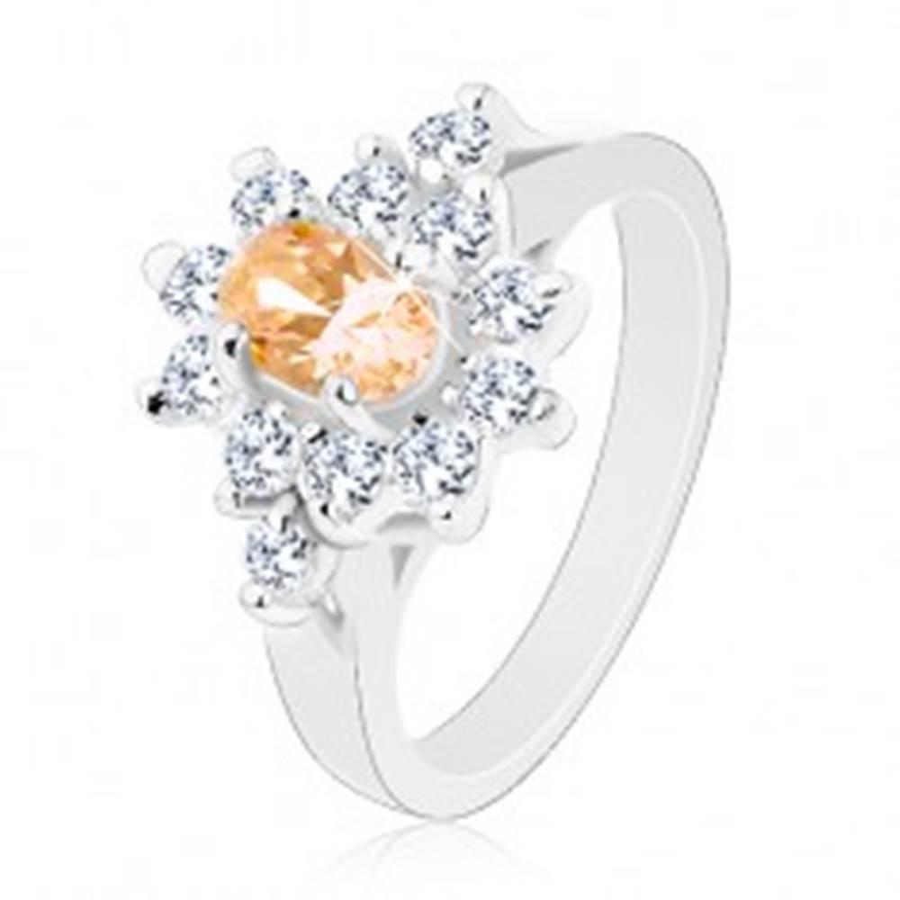 Šperky eshop Prsteň striebornej farby, svetlooranžový ovál s čírym zirkónovým lemom - Veľkosť: 49 mm