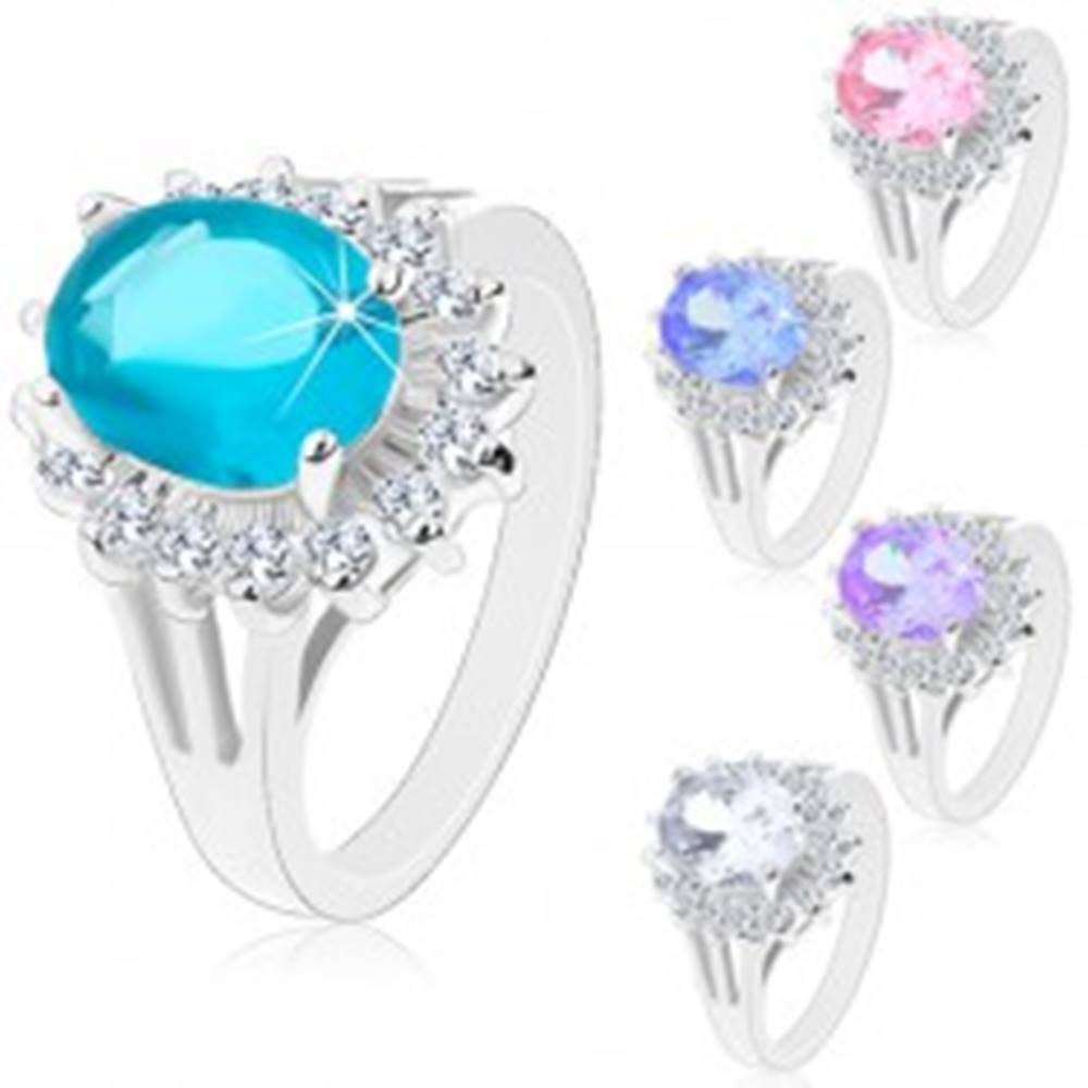 Šperky eshop Prsteň striebornej farby, veľký zirkónový ovál, obruba z čírych zirkónikov - Veľkosť: 48 mm, Farba: Ružová