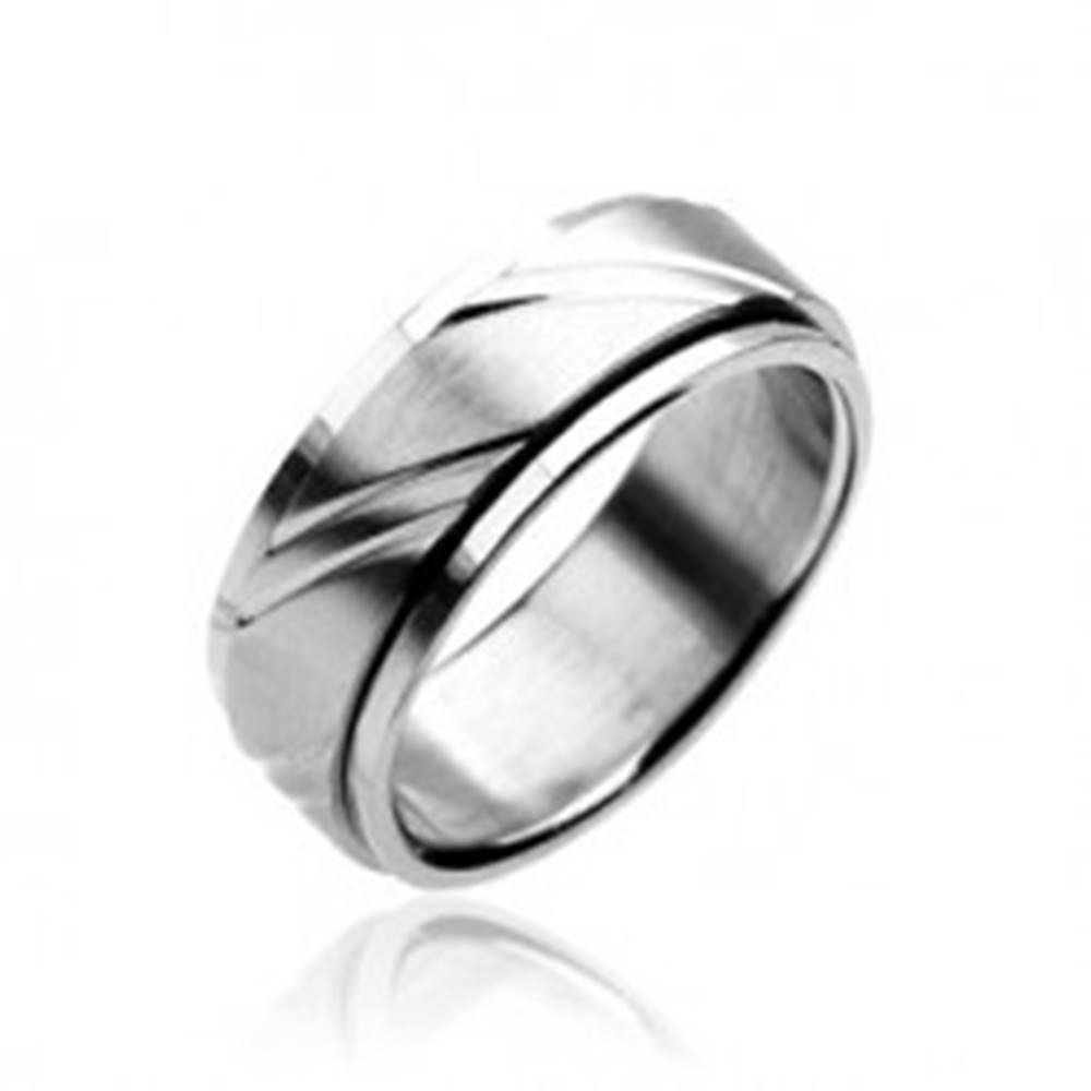 Šperky eshop Prsteň z chirurgickej ocele - dvojdielny, striebornej farby, s gravírovaním - Veľkosť: 59 mm