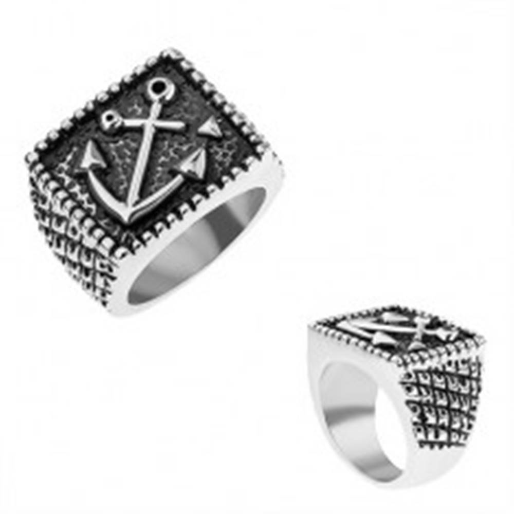 Šperky eshop Prsteň z chirurgickej ocele, lodná kotva v obdĺžniku, gravírované ramená - Veľkosť: 56 mm
