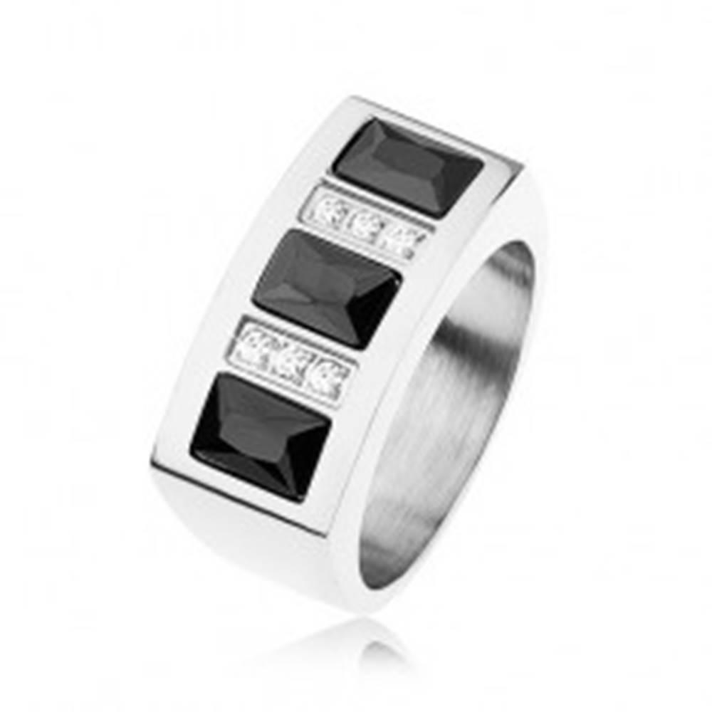 Šperky eshop Prsteň z ocele 316L vykladaný ligotavými zirkónmi v čiernej a čírej farbe - Veľkosť: 56 mm