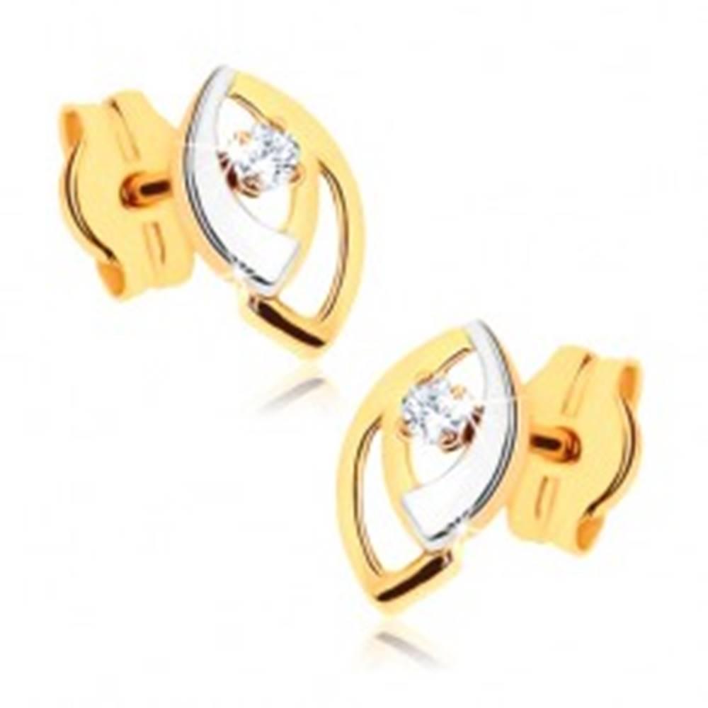 Šperky eshop Puzetové náušnice v 9K zlate - dvojfarebné obrysy zrniečok, číry zirkónik