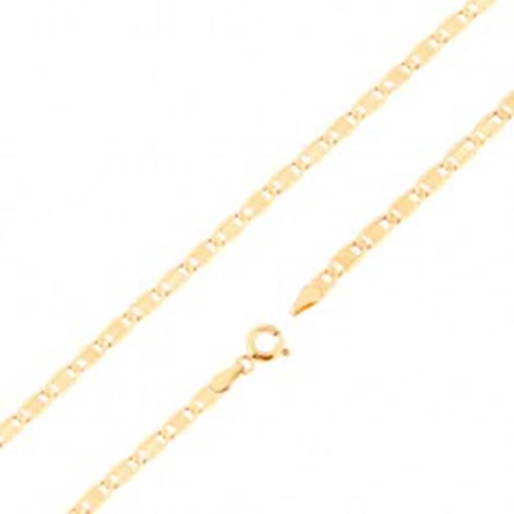 Šperky eshop Retiazka zo žltého 14K zlata - väčšie ploché články, zárezy, obdĺžnik, 450 mm