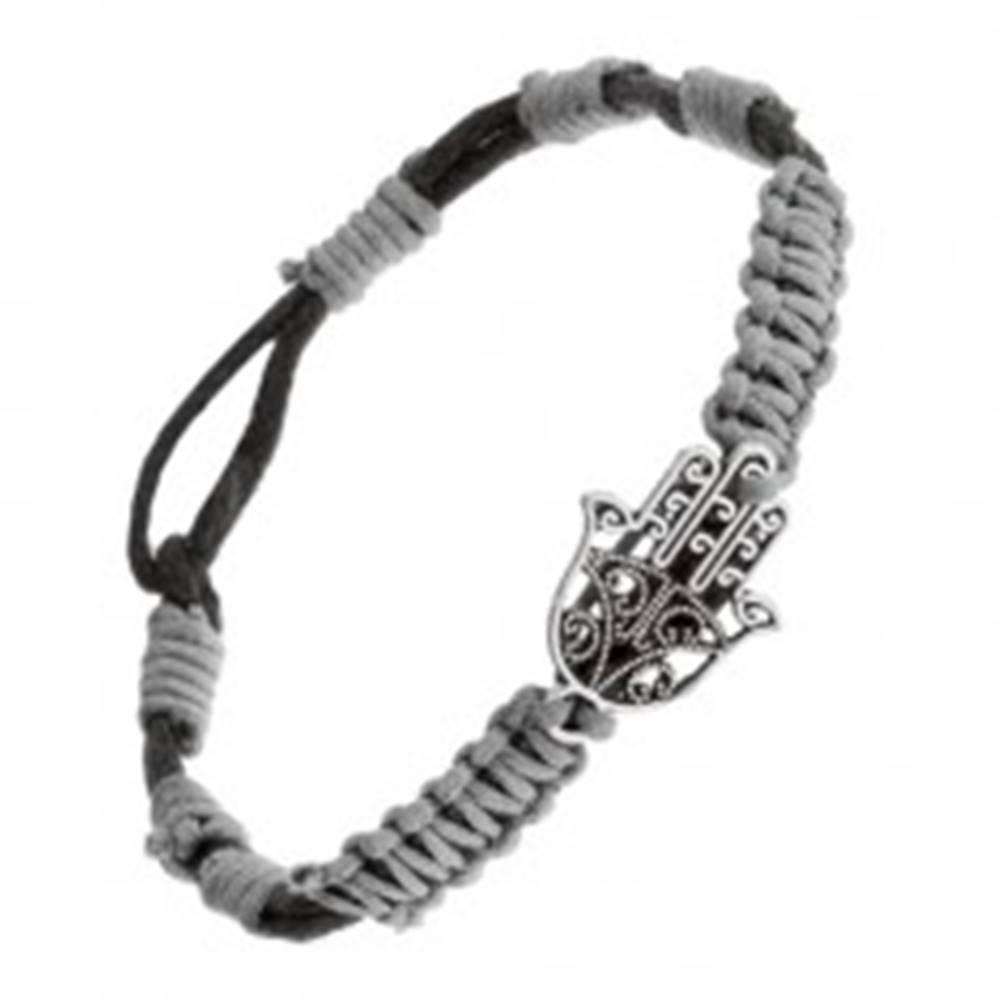Šperky eshop Šnúrkový náramok čiernosivej farby s príveskom ruka Fatimy, nastaviteľný