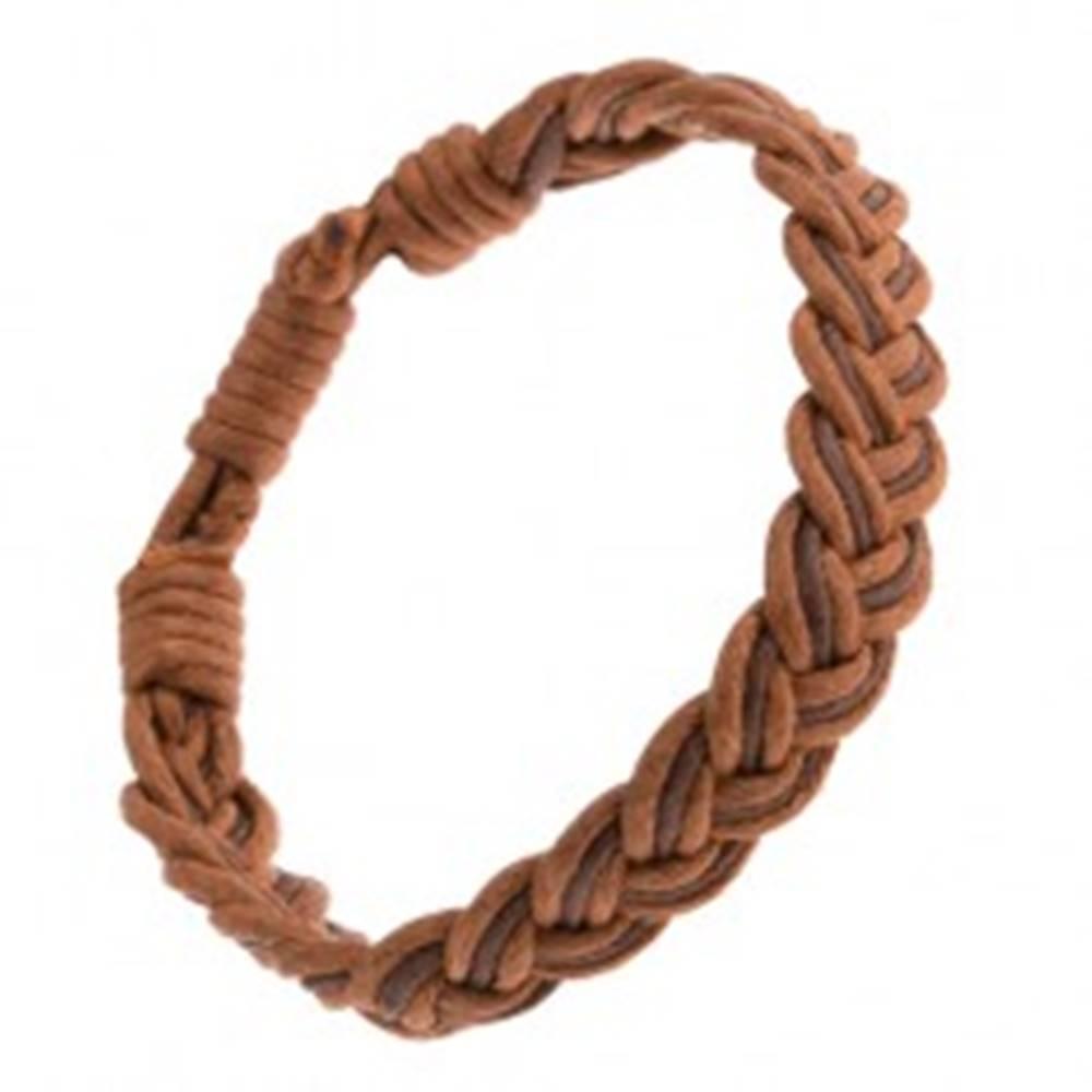 """Šperky eshop Šnúrkový náramok hnedej farby, pletený vzor písmena """"V"""""""