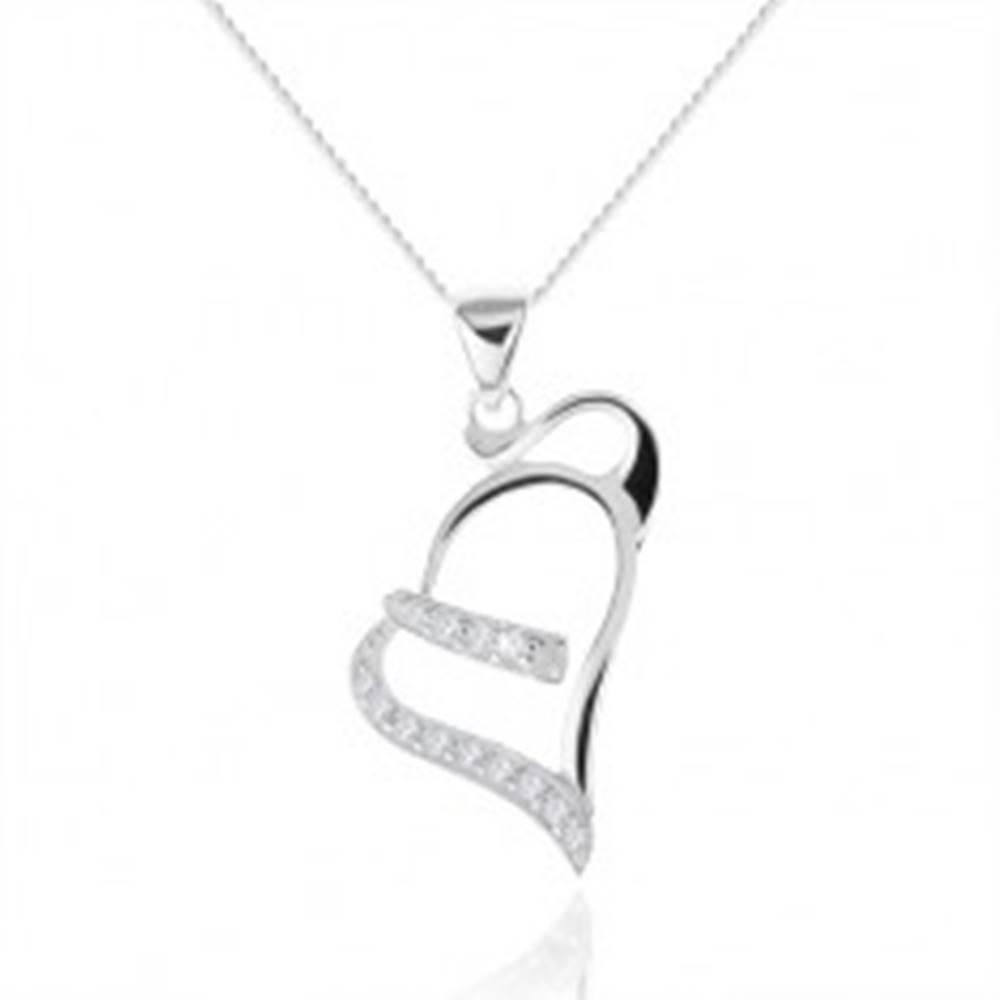 Šperky eshop Strieborný náhrdelník 925, kontúra asymetrického srdca, zirkónové línie