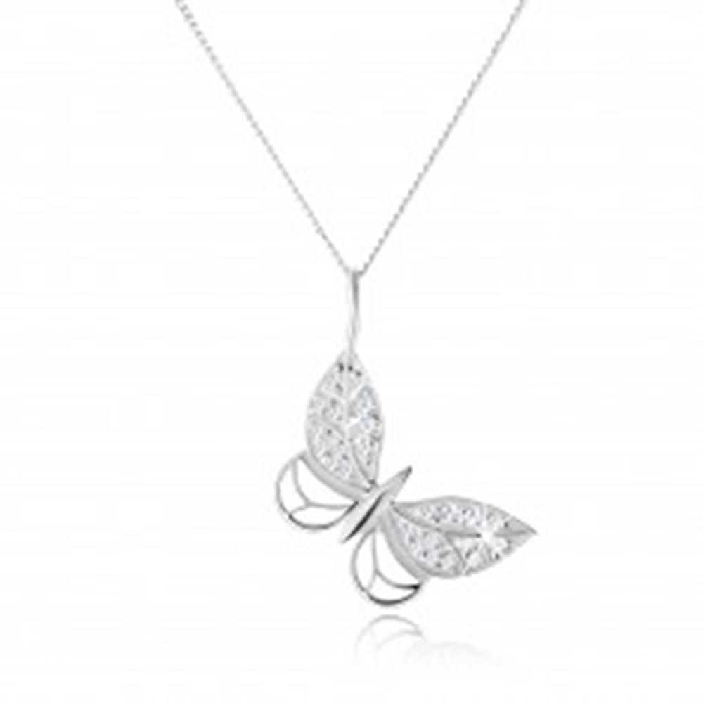 Šperky eshop Strieborný náhrdelník 925, kontúra motýľa, zirkónové zdobenie, nastaviteľný